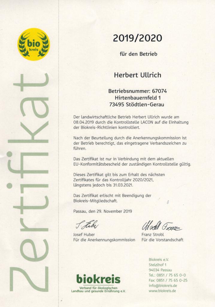 Biokreis Zertifikat Herbert Ullrich